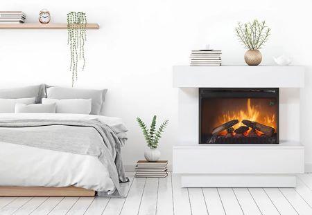 Chimenea eléctrica diseñada para calentar y admirar un fuego acogedor en la pared de tu hogar sin necesidad de mantenimiento ni combustibles