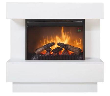 Chimenea eléctrica que imita el diseño de chimeneas convencionales, está fabricada en acero color negro con revestimiento en color blanco lacado e indicada para colocar en la pared y crear así un espacio de diseño perfecto