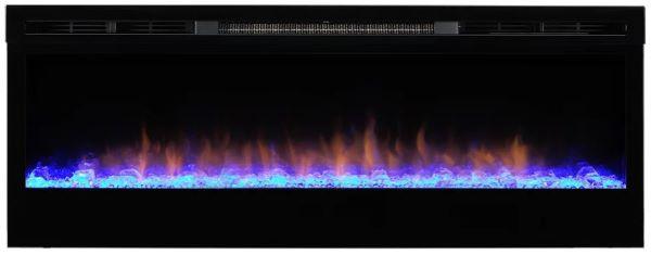Chimenea eléctrica insertable en acero negro. Con un potente calefactor y efecto llama realista en un abanico de colores con tecnologia LED